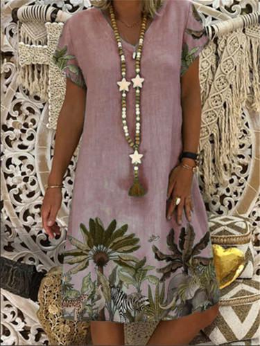Women Summer Loose Boho Floral Printed Sundress Dresses V Neck Casual Beach Dress