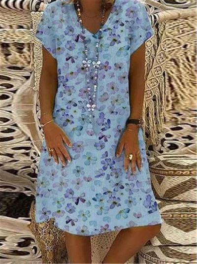 Plus Size Dress Summer Women Vintage printing Short Sleeve A Line printed Linen Casual Summer Dresses