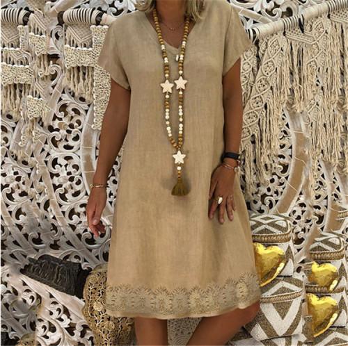 S-5XL Plus Size Dress Summer Women Vintage stripe Short Sleeve Midi Dress Solid Loose Beach Casual Dresses