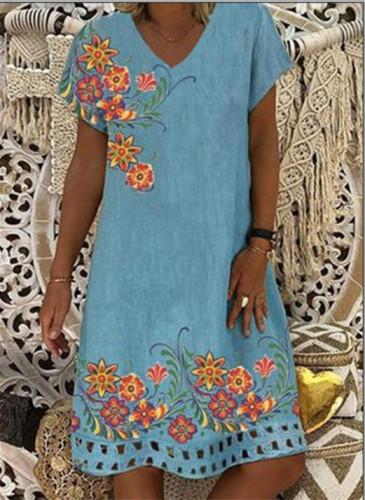 Flower Printed Loose Dresses Women Cotton Linen Dress V-neck Short Sleeve Plus Size Dresses