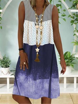 Plus Size Dress Women Summer Sleeveless Vintage Flower Patchwork Loose Dresses