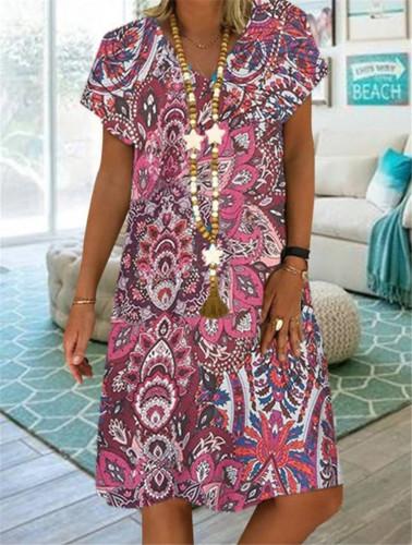 Bohemian Casual Loose Mini Dress Women Floral Print V-Neck Short Sleeve Plus Size Dresses