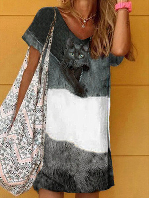 Women Summer Dress Vintage V-neck Short Sleeve Midi Dress Retro Printed Patchwork Loose Beach Casual Dresses