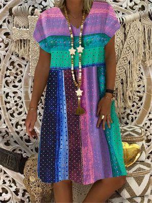 Linen Dress Digital Print Short Sleeve V-neck Dresses Boho Dresses