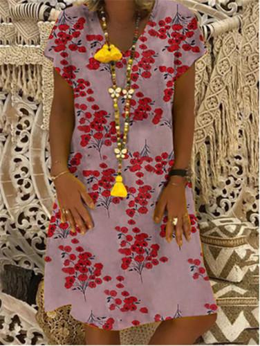 Linen Floral Printed V-Neck Short Sleeves Casual Plus size Dresses