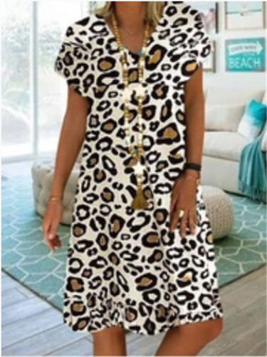 2021 New Women Summer Dress Fashion Colorful Leopard Print V-neck Loose Big Swing Casual Beach Style Large Ladies Plus Size Dress