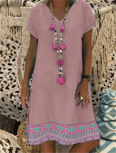 Casual Loose Mini Dress Women Floral Print V-Neck Short Sleeve Linen Dress