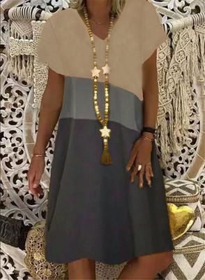 Women Summer Bohemia Fashion Plus Size Short Sleeve Print Patchwork Dress