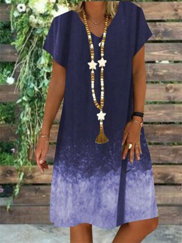 Women Vintage Gradient Short Sleeve Midi Dress Retro Printed Loose Beach Casual Dresses