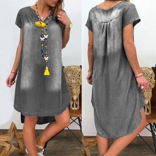 Women's Summer Casual V Neck Denim Long Party Dresses Short Sleeve Swing Dress