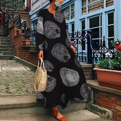 Women Long Sleeve Loose Dress Vintage Floral Printed Long Plus Size Cotton Linen Sundress Summer Maxi Dress