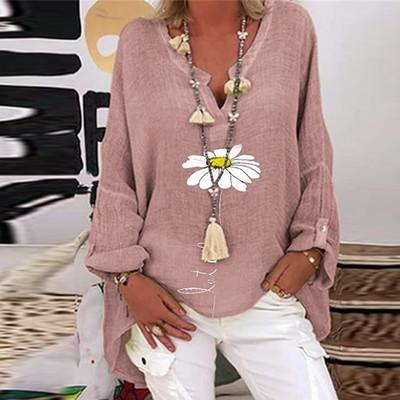 Fashion Retro Sunflower Floral Print Women Shirt Stitching Button Long Sleeve Cotton Linen Blouses Casual Street Lady Top