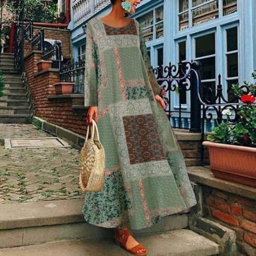 Women Plus Size Vintage Floral Printed Long Dress Cotton Linen Sundress Robe Femme Long Sleeve Loose Maxi Dress