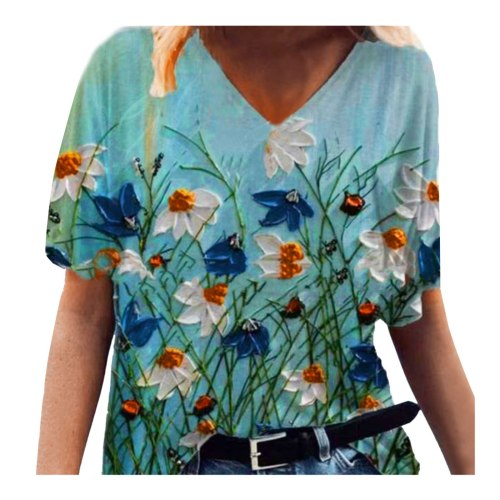 Cotton Linen Women's Blouse Geometric Fashion Colorful Flowers Short-sleeved Top Printed T-shirt Vintage Shirts Plus Size