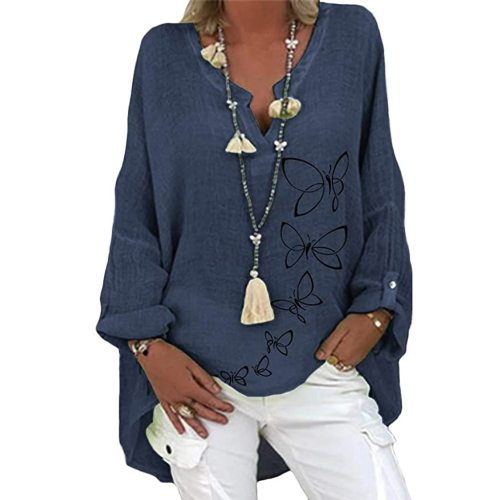 Plus Size Women Casual Long Sleeve Floral Print Loose V-neck Shirt Blouse Top