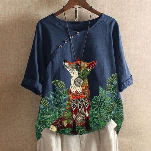 T-shirt Oversize Woman Cotton Linen Animal Prin T-shirts Loose O-neck Tops Style Blusas Leisure Blouse