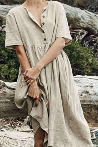Women O-Neck Button Pure Color Short Sleeve Cotton And Linen Maxi Dress