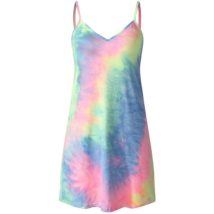 Summer Dress Beach Dress Women's Tie-dye Gradient Sleeveless Adjustable Strappy Summer Beach Swing Dress
