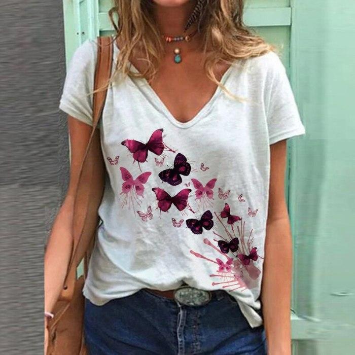2021 Summer 3D Pattern Printed Shirt Women Spring Summer V Neck Short Sleeve Women Tops Loose T Shirt Plus Size