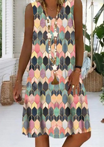 Spring 2021 Geometric Digital Print Midlength Sleeveless Casual Dress