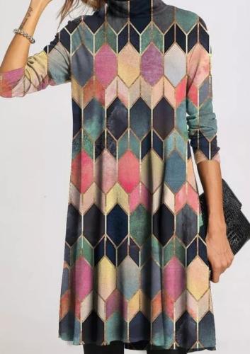 Aprmhisy Women New Spring Autumn Dress Vintage Retro Floral Print Long Sleeve Casual Midi Dress Vestidos
