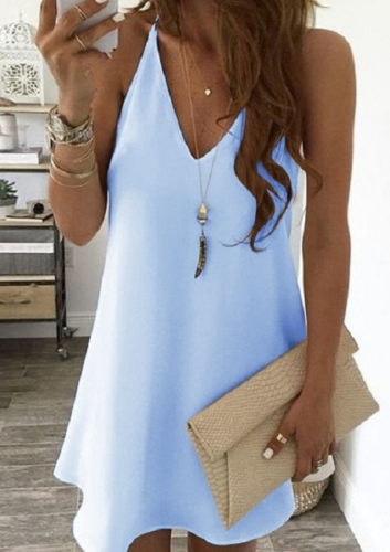 Elegant Dress New Summer Fashion Spaghetti Strap Solid Color Sexy Dress Swing Sleeveless Chiffon Dress Vestidos