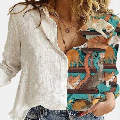 Vintage Women Patchwork Button Long Sleeve Blouses Autumn Casual Loose Office Shirt Femme Plus Size 5XL Floral Print Shirt Blusa