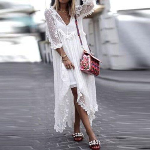2021 Summer Sexy V-Neck Women Beach Long Dress Elegant Mesh Lace Party Dress Spring Casual Long Sleeve Loose Maxi Dress Vestidos