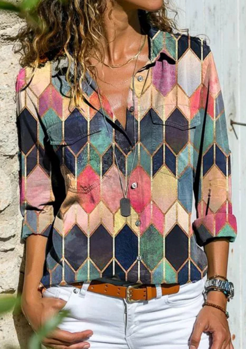 Aprmhisy new turn-down collar women blouse shirt spring long sleeve plus size lady tops blusa feminina 5xl