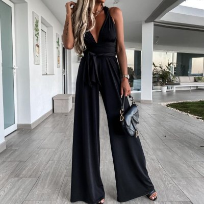 2021 Sexy Deep V Neck Solid Club Jumpsuit Summer Sleeveless Backless Women Romper Casual Fashion Bandage Belt Wide Leg Playsuits