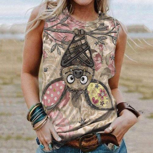 Aprmhisy Vintage Retro Time Print Tshirts Women New Summer Sleeveless O-Neck Casual Loose Tops Tees 3XL