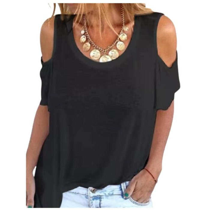 3XL Loose Casual T-Shirts Plus Size Cold Shoulder Women O-Neck Summer Print Tee Tops Streetwear Oversized Lady T-Shirt 2021 New