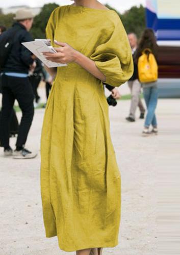 Elsvios Vintage Cotton Linen Pleated Dress Elegant Women Lantern Sleeve Party Dress Ladies Solid O Neck Maxi Long Dress Vestido