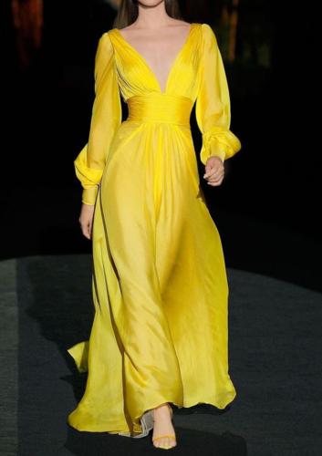 Elegant Dress Fashion Temperament Streetwear Lantern Sleeve V-neck Dress Women High Waist Vestidos