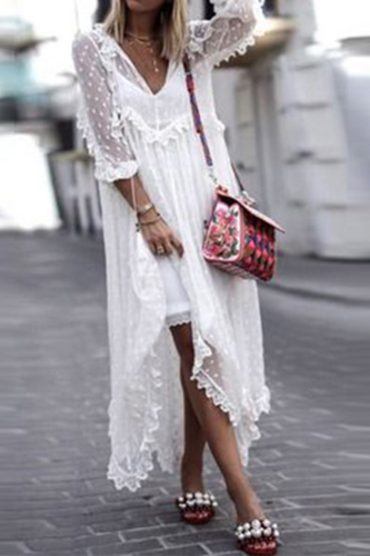 2021 Summer Sexy V-Neck Women Beach Long Dress Elegant Mesh Lace Party Dress Spring Casual Long Sleeve Loose Maxi Dress Vestidos