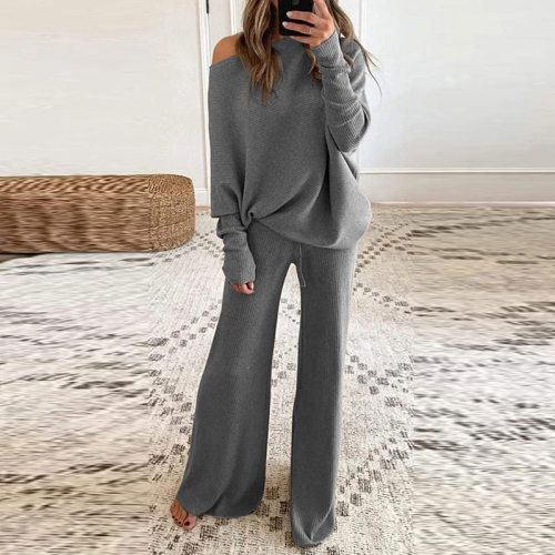 Homewear Women 2 Piece Set Spring Autumn Loose Pullover Tops + Wide Leg Pants Sports Suit Lady Casual Soft Sportswear Tracksuits
