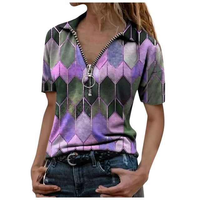Women's T-Shirt 2021 New Summer Printed Woman Tops Deep V Neck Female T Shirts Casual Soft Short Sleeve Office Ladies Tops