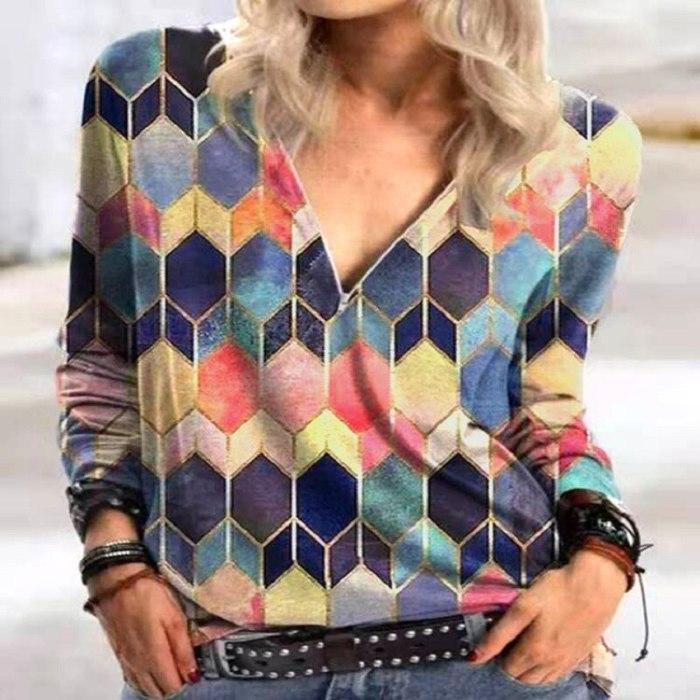 Women's Shirt Vintage Rhombus Print Button Shirt Blouse Spring Elegant Turn-Down Collar Office Shirts Tops Casual Loose Blusas