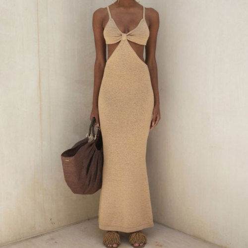 Free Shipping Halter Long Dress Twist Backless Lace Up Hollow Out Summer Casual Dresses for Women Streetwear Holiday Party Robe