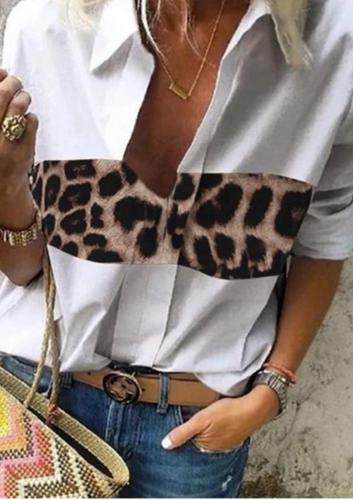 Aprmhisy Vintage Retro Leopard Patchwork Women Blouse Shirt New Spring Autumn Casual Office Shirts Blusas