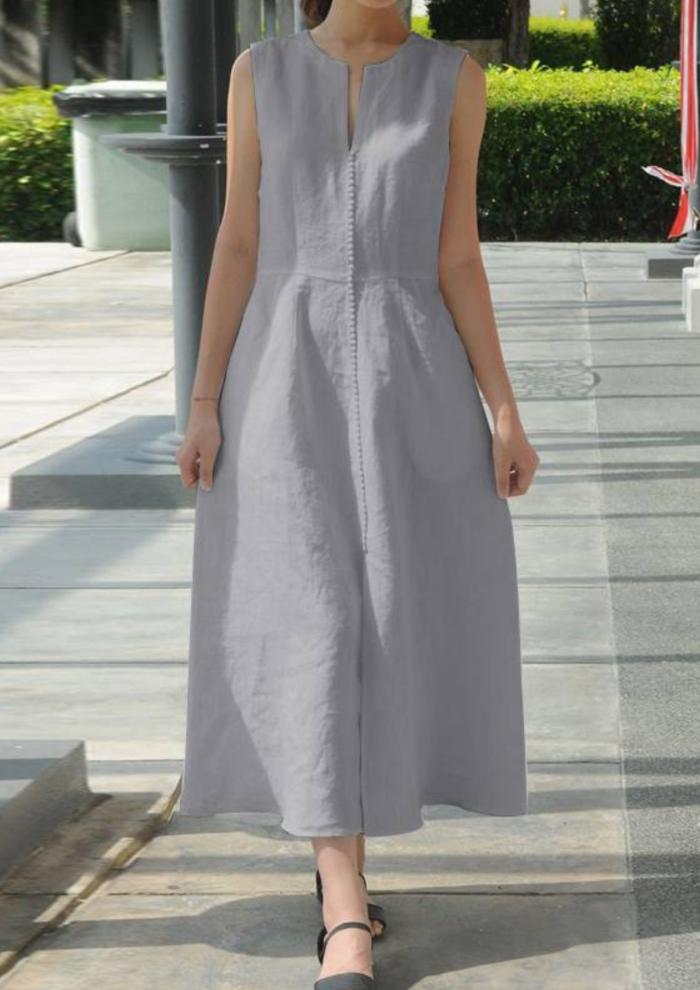 5XL Women Vintage  2021 Summer Sexy V Neck Sleeveless Long Dress Belted Linen Maxi Dress