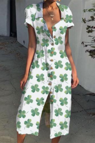 2021 Spring Casual Short Sleeve Party Dress Summer Vintage Turn-down Collar Button Dress Elegant Clover Leaf Women Shirt Dresses