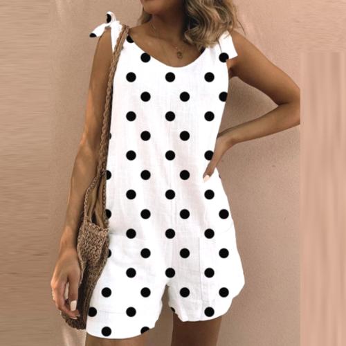 2021 Summer V Neck Short Sleeve Jumpsuit Romper Women Spring Leaf Polka Dot Print Strappy Bodysuit Casual Loose Shorts Overalls