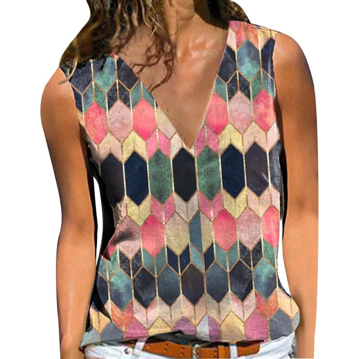 Blouse Women's Sexy V-neck Cute Retro Plaid Print Pullover Sleeveless Casual Bottom Blouse Vest Top
