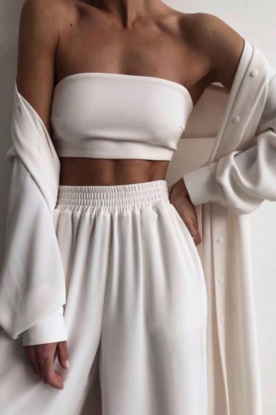 Homewear Women 3 Piece Sets Spring Autumn Wrap Cardigan Tops And Wide Leg Pants Suit Fashion Casual Simple Soft Lady Sportswear