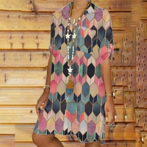 2021 Summer Geometric Turn-down Collar Women Shirt Dress Hot Sale Plus Size Single-Breasted Plaid Loose 3XL Dress