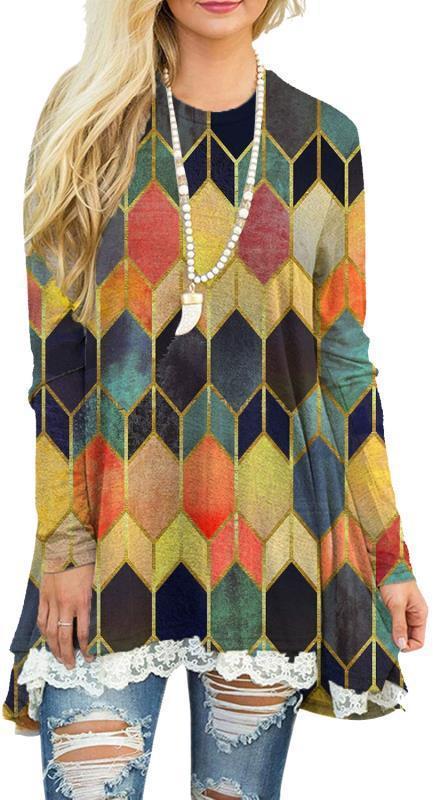 Aprmhisy Elegant Geometry Print Women Dress New Spring Autumn Casual Streetwear Knee-Length Dress Vestidos