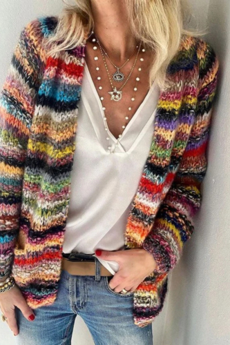 Long Sleeve Casual Striped Outerwear Women's Cadigan Multicolor Open Front Knit Coat ASD88