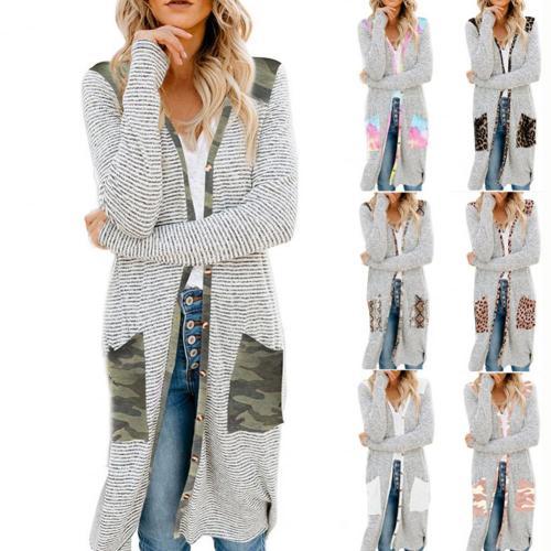 Autumn Winter Oversize Sweater Women Long Sleeve Open Front Cardigan Leopard Camouflage Pocket Mid-length Coat Sweater