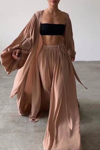 Women 3 Piece Sets Homewear Fashion Casual Lantern Sleeve Cardigan Tops+Wide Leg Pants Suits Lady Spring Soft Three Piece Outfit
